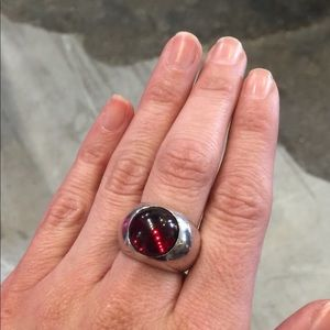 Vintage Lalique sterling silver red cabochon ring